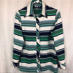 VTG Johns Girl Sz L Women's Blouse Stretchy Green